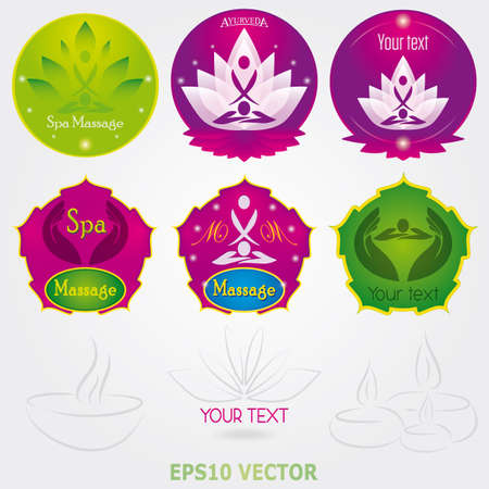 Spa massage Logo Set Vector beauty and yoga set Vector