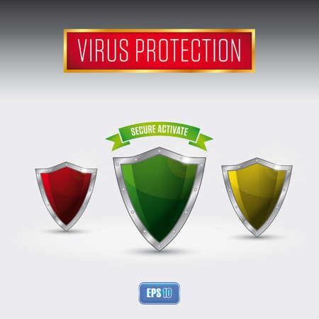 computer virus: Virus inform�tico escudo de protecci�n - Software anti-virus Vectores
