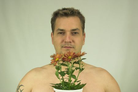 handsom: man with flower Stock Photo