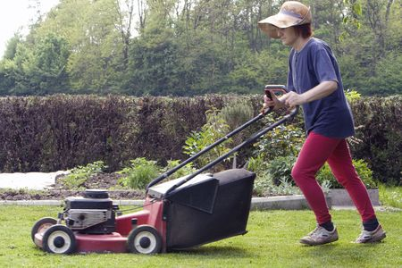 lawn area: cutting grass Stock Photo