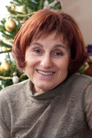 woman portrait in christmas time Stock Photo