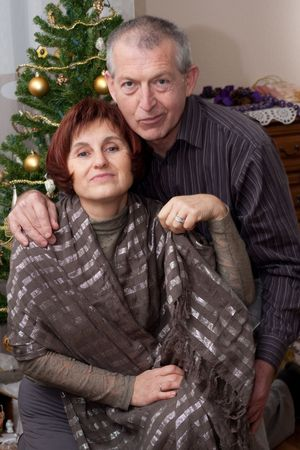 happy couple on christmas photo