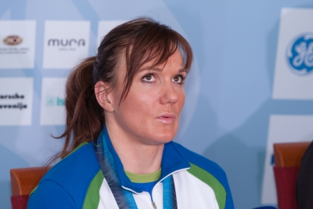 LJUBLJANA, SLOVENIA-MARCH 1: Petra Majdic, 3rd place winner at Vancouver Olympic in biathlon gives interview