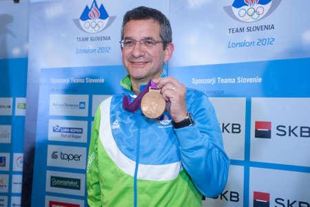 Brnik, SLOVENIA-august 7:rajmond debevec, comming bach from olimpic games in london on august 07, 2012 brnik, slovenija Editorial