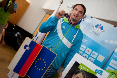 Brnik, SLOVENIA-august 10:primož kozmus, comming bach from olimpic games in london on august 10, 2012 brnik, slovenija