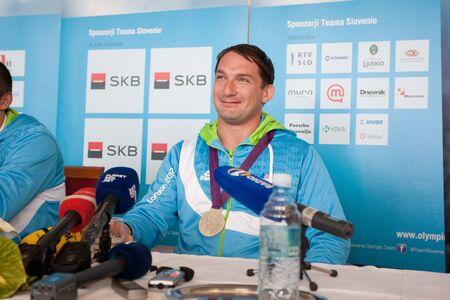Brnik, SLOVENIA-august 10:primo� kozmus, comming bach from olimpic games in london on august 10, 2012 brnik, slovenija Editorial