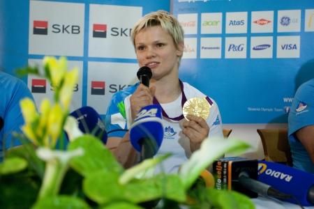 Brnik, SLOVENIA-august 5:urška žolnir, comming bach from olimpic games in london on august 05, 2012 brnik, slovenija