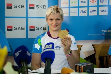 Brnik, SLOVENIA-august 5:ur�ka �olnir, comming bach from olimpic games in london on august 05, 2012 brnik, slovenija