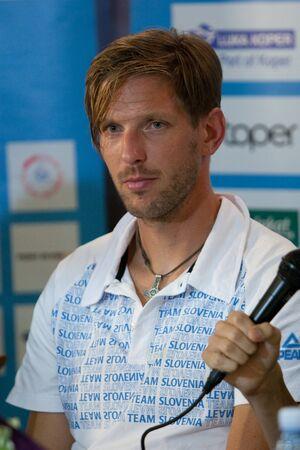 Brnik, SLOVENIA-august 5:luka špik, comming bach from olimpic games in london on august 05, 2012 brnik, slovenija