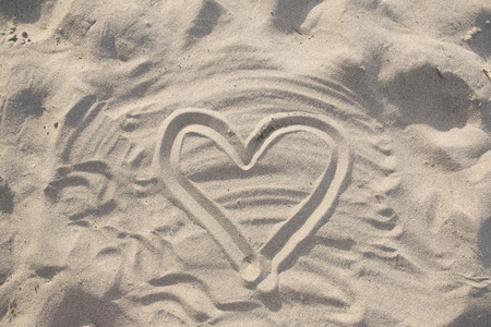 shape of the heart in the sand Stock Photo