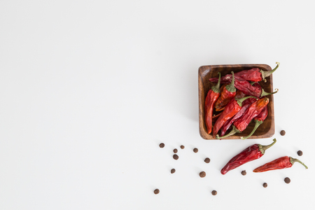 Home Grown chillies on the white background