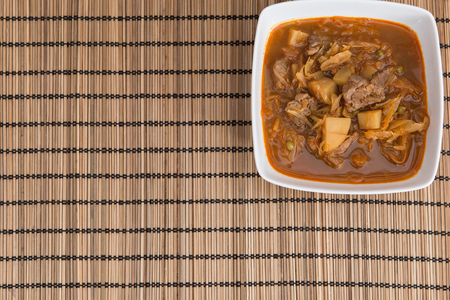 Home cooked traditional segedin goulash with cabbage
