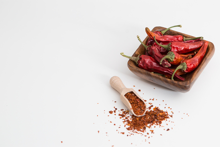 Dried Home Grown Chilli Peppers on the background Standard-Bild - 121549659