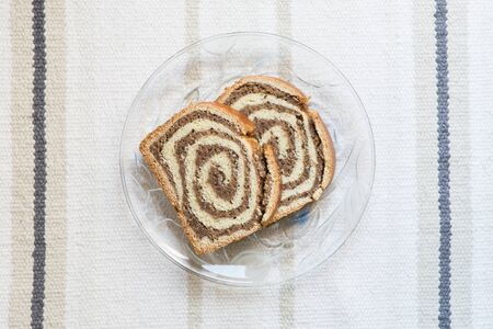 Traditional Slovenian cake called potica on the background
