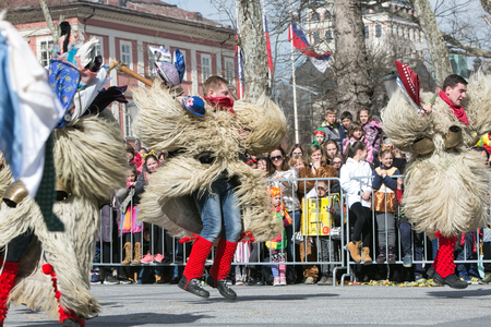 Ljubljana, Slovenia / Slovenia - FEBRUARY 02 2019: Carnival in Slovenia with some traditional Slovenian mask such as kurent, which is made out of sheep wool; it scares winter away Editorial
