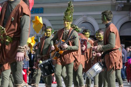 Ljubljana, Slovenia / Slovenia - FEBRUARY 02 2019: Carnival in Slovenia with some traditional Slovenian and Croatian masks