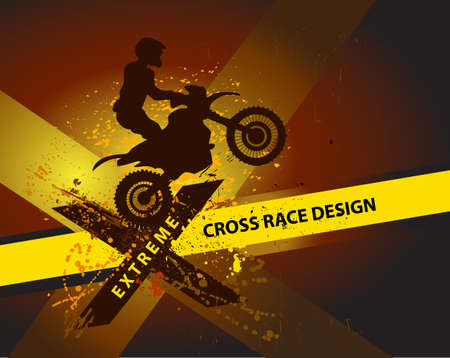 off road racing: motocross background design with grunge element and place for text Illustration