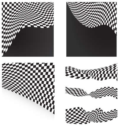 checkered flags set backgrounds and elements Vector