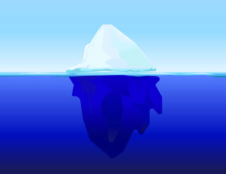 tip of the iceberg: ice berg on water concept vector background