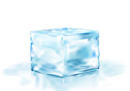 ice brick: ice cube half side view vector illustration