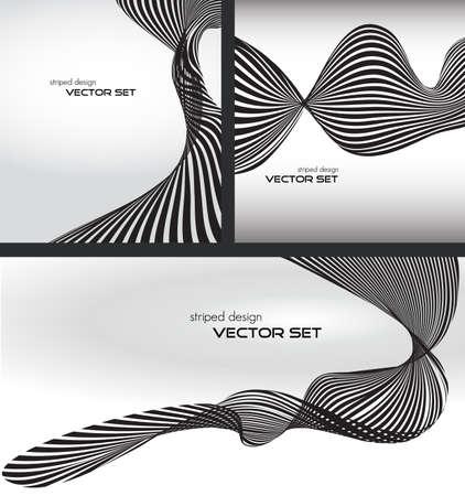 striped wave background set Vector