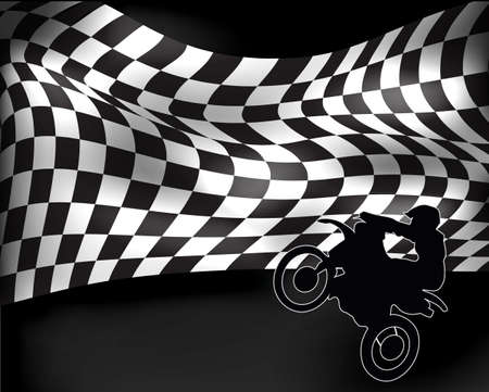 checkered flag with wheelie motorbike and rider Vector