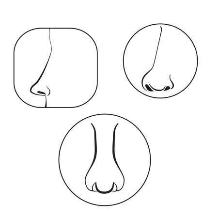 nose close up: set of black nose pictograms vector