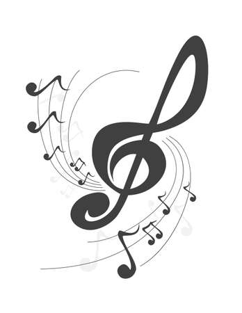 abstract music violin key music notes design