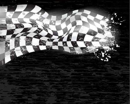 cuadros blanco y negro: carreras de fondo bandera a cuadros wawing Vectores