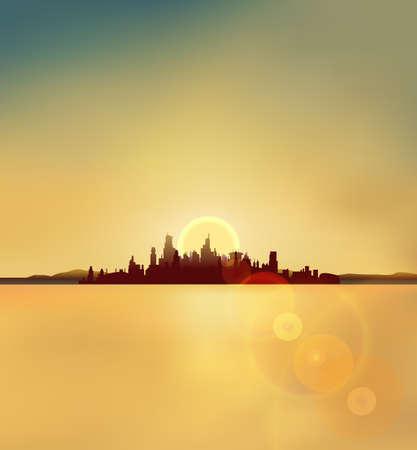 backlite: city silhouette background in sunset vector Illustration