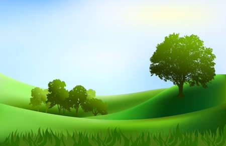 rolling hills: landscape trees hills background illustration