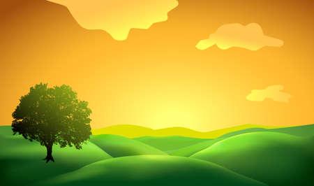 風景の背景の木のシルエットに  イラスト・ベクター素材