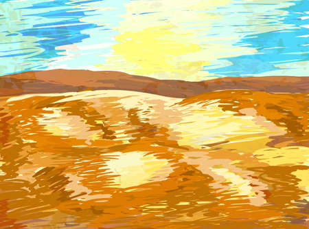 그린: hand painted desert landscape vector background 일러스트