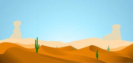 arizona sunset: desert with dunes cactus and mountains