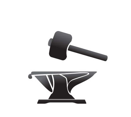 labor strong: anvil blacksmith symbol vector illlustration