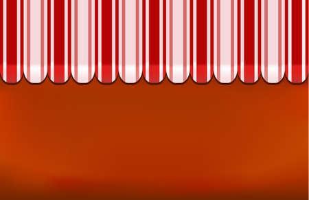 vitrine: awning shop background on red