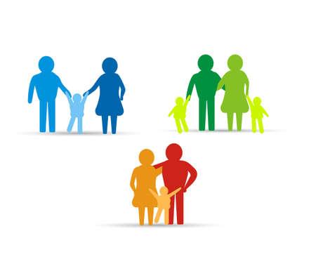 familias unidas: familia multicolor elementos icono de diseño