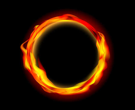 orange inferno: fire ring vector Illustration