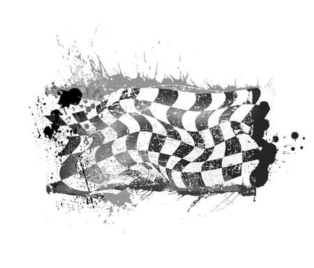 grunge checkered race flage vector