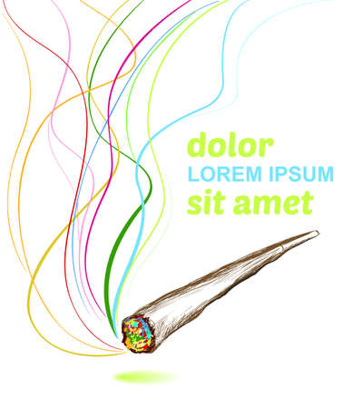 quick drawing: joint smoking weed  background Illustration