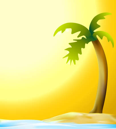 cartoon palm tree: palm and beach in sunset vector background Illustration