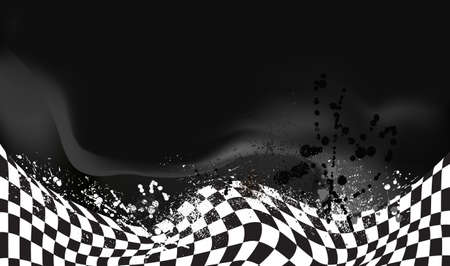 black grunge background: race, checkered flag background vector