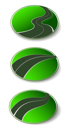 winding: winding road set vector icons
