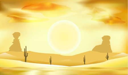 desert landscape, dunes and sun background vector illustration 일러스트