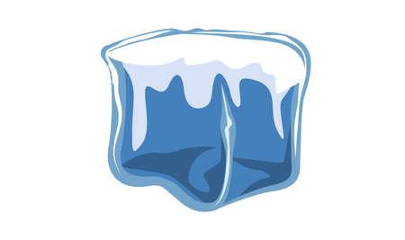 ice brick: ice block icon vector illustration of frozen block Illustration