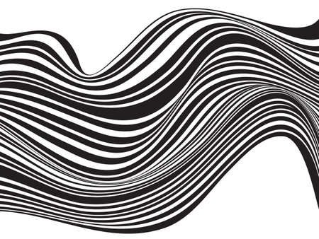 stripes patterns: black and white mobious wave stripe optical design Illustration