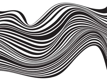 rallas: diseño óptico blanco y negro de la raya de la onda Mobious Vectores