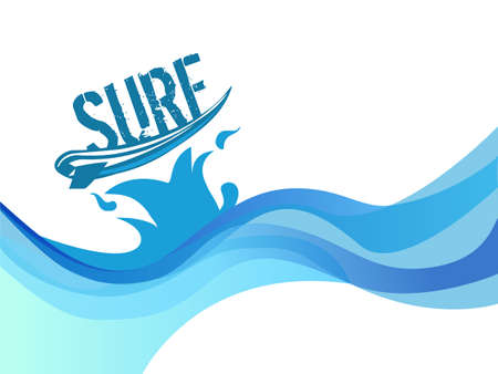 wave icon: surf on wave background water waves vector design Illustration