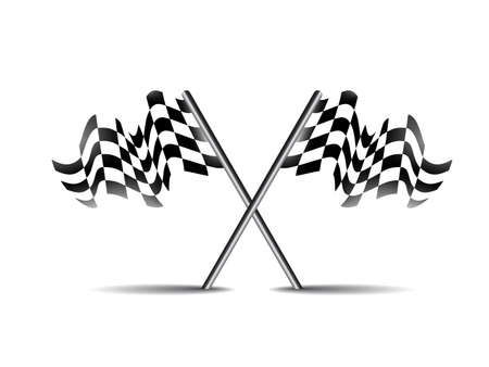 racing checkered flag crossed: crossed race flag icon vector symbol