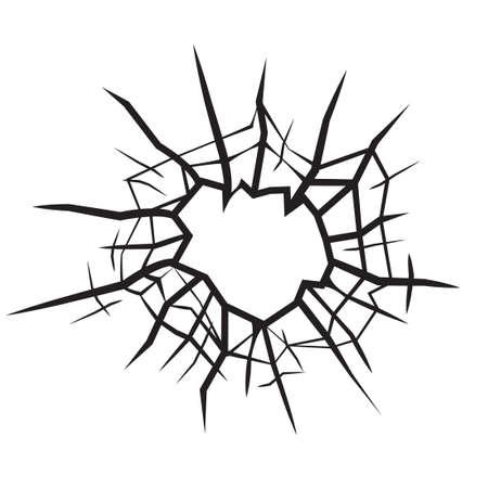 ガラスひびの入ったガラスの黒と白のベクトルの穴